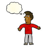 cartoon man shrugging shoulders with thought bubble Stock Images
