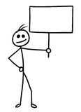 Cartoon of Man with Sign. Cartoon vector doodle stickman holding empty sign for your text Royalty Free Stock Images
