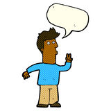 Cartoon man signalling with hand with speech bubble Royalty Free Stock Image