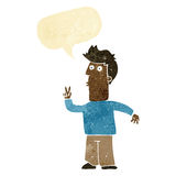 Cartoon man signalling with hand with speech bubble Stock Photography