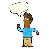 Cartoon man signalling with hand with speech bubble Royalty Free Stock Photos