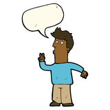 Cartoon man signalling with hand with speech bubble Stock Images