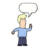 Cartoon man signalling with hand with speech bubble Stock Photo
