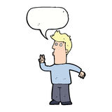 Cartoon man signalling with hand with speech bubble Royalty Free Stock Photography