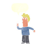 Cartoon man signalling with hand with speech bubble Royalty Free Stock Images