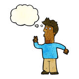 Cartoon man signalling with hand with thought bubble Stock Photo