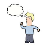 Cartoon man signalling with hand with thought bubble Stock Image