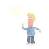 Cartoon man signalling with hand with thought bubble Royalty Free Stock Photo