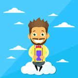 Cartoon Man Sitting on Clouds Use Cell Smart Phone Stock Image