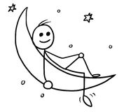 Cartoon of Man Sitting on the Crescent Moon. Cartoon vector doodle stickman sitting on the crescent horned moon Royalty Free Stock Photography
