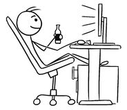 Cartoon of Man Sitting in Front of Computer and Drinking a Beer. Cartoon vector doodle stickman sitting in work in front of computer screen legs up and enjoying Stock Image