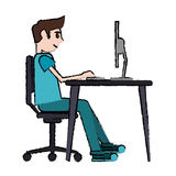 Cartoon man sitting using laptop on desk design Royalty Free Stock Image