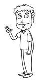 Cartoon man. Sketch cartoon illustration of a man with peace sign Royalty Free Stock Photo