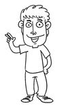 Cartoon man. Sketch cartoon illustration of a man with peace sign Stock Photography