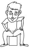 Cartoon man. Sketch cartoon illustration of a man sit on the box Stock Images