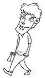 Cartoon man. Sketch cartoon illustration of a man walking after shopping Royalty Free Stock Image
