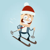 Cartoon man is skiing Stock Photo
