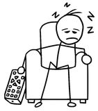 Cartoon of Man Sleeping in the Chair in front of TV. Cartoon vector doodle stickman Sleeping in the Chair in front of television Royalty Free Stock Photo