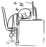 Cartoon of Man Sleeping on the Computer Keyboard. Cartoon vector doodle exhausted tired stickman man sleeping on the computer keyboard in the job Stock Photography