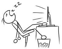 Cartoon of Man Sleeping inFront of the Computer Screen. Cartoon vector doodle stickman man sleeping in front of the computer screenwith leg on the table Royalty Free Stock Images