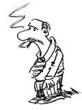 Cartoon man smoking. Black and white cartoon of a man smoking Stock Photo