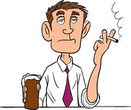Cartoon man smoking with a beer. Isolated Royalty Free Stock Image