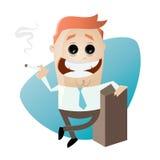Cartoon man is smoking. Illustration of a cartoon man is smoking Royalty Free Stock Photos