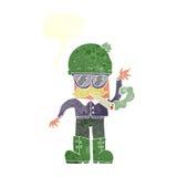 cartoon man smoking pot with speech bubble Stock Images