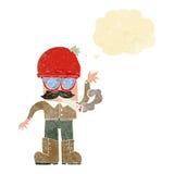 cartoon man smoking pot with thought bubble Stock Photo