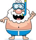 Cartoon Man Snorkeling Stock Photos
