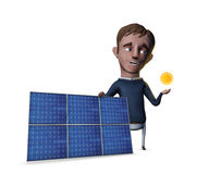 Cartoon man with solar panels Stock Photo