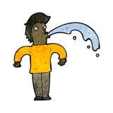 Cartoon man spitting water Royalty Free Stock Photo