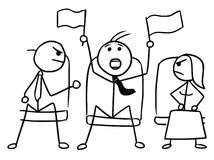 Cartoon of Man with Sport Flags in Theater or Cinema. Cartoon vector doodle stickman in theater or cinema with flags waving and two angry viewers Stock Images
