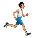 Cartoon man in sportswear running, side view Royalty Free Stock Images