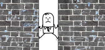 Cartoon man  squeezed between two walls Stock Image