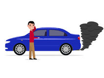 Cartoon man standing car with smoke exhaust pipe. Vector illustration of a cartoon man standing next to the car. Auto with black smoke from the exhaust pipe Royalty Free Stock Images