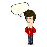 Cartoon man staring with speech bubble Stock Images