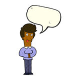 Cartoon man sticking out tongue with speech bubble Royalty Free Stock Photography