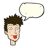 Cartoon man sticking out tongue with speech bubble Royalty Free Stock Photo