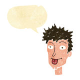 Cartoon man sticking out tongue with speech bubble Royalty Free Stock Images