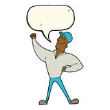 Cartoon man striking heroic pose with speech bubble Royalty Free Stock Photography