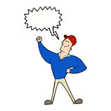 Cartoon man striking heroic pose with speech bubble Stock Images