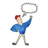 Cartoon man striking heroic pose with speech bubble Stock Photo
