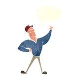 cartoon man striking heroic pose with speech bubble Royalty Free Stock Image