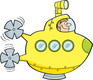 Cartoon man in a submarine. Royalty Free Stock Photography