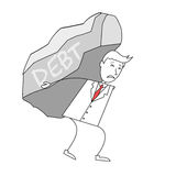 Cartoon man in suit carrying a rock of debt Royalty Free Stock Image