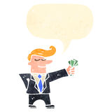 Cartoon man in suit with handful of cash Stock Photos