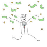 Cartoon man in suit happy with money Royalty Free Stock Photography
