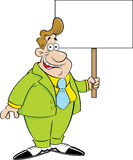 Cartoon man in a suit holding a sign. Royalty Free Stock Images