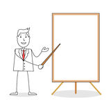 Cartoon man in suit pointing on a blank white board Stock Image